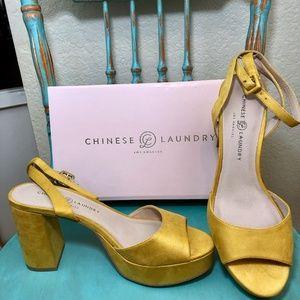 CL Sunflower Suede Platform Ankle Strap 10M NWB